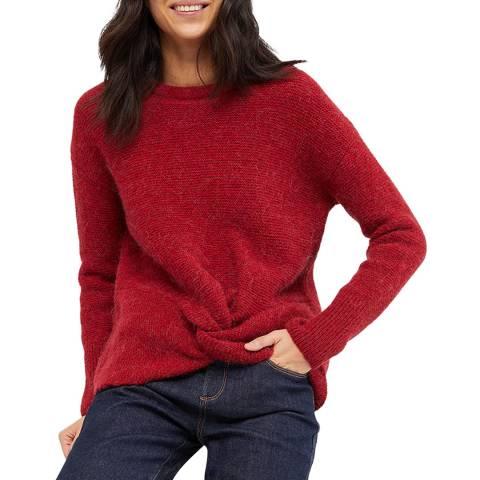 White Stuff Red Twist Front Rib Wool Jumper