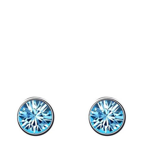 Ma Petite Amie Silver Plated/Light Blue Stud Earrings with Swarovski Crystals