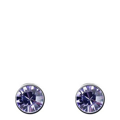 Ma Petite Amie Silver Plated/Purple Stud Earrings with Swarovski Crystals