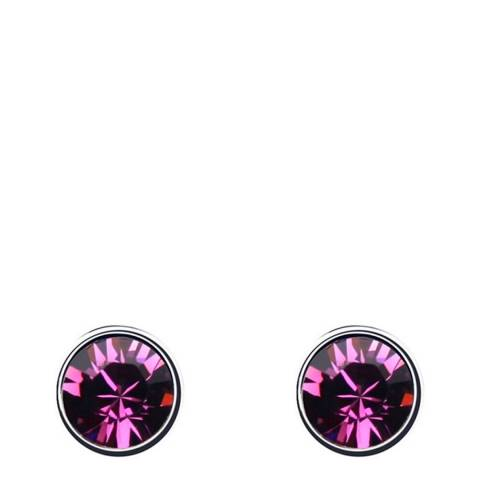 Ma Petite Amie White Gold Plated/Dark Pink Earrings with Swarovski Crystals