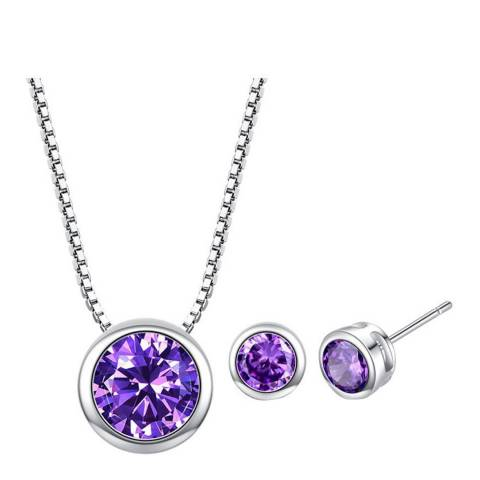 Ma Petite Amie Silver Plated/Purple Stud Earrings and Necklace Set