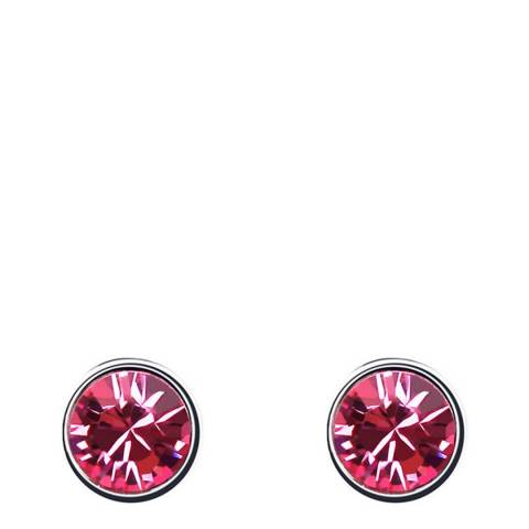 Ma Petite Amie Silver Plated/Dark Pink Stud Earrings with Swarovski Crystals