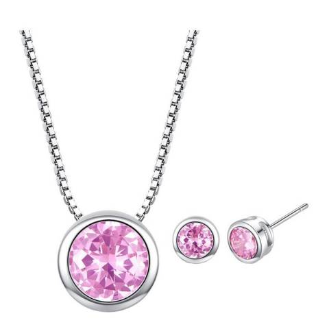 Ma Petite Amie Silver Plated/Dark Pink Stud Earrings and Necklace Set