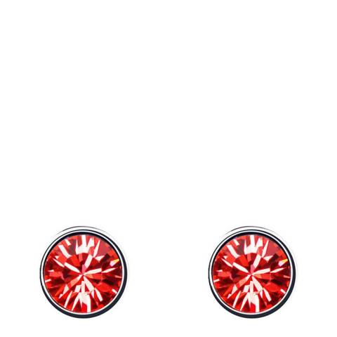 Ma Petite Amie Silver Plated/Red Stud Earrings with Swarovski Crystals