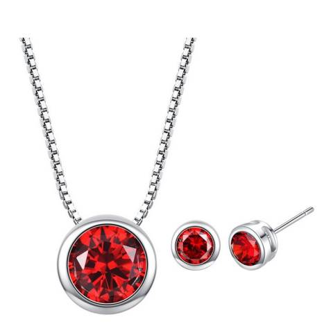 Ma Petite Amie Silver Plated/Red Stud Earrings and Necklace Set