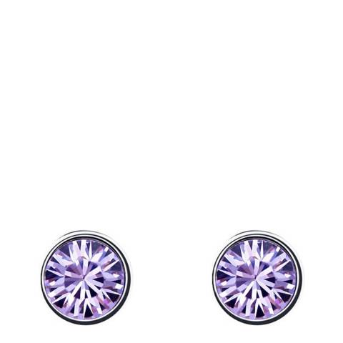 Ma Petite Amie Silver Plated/Purple Stud Earrings with Swarovski Crystals