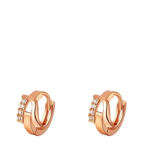 Ma Petite Amie Rose Gold Plated 'A' Initial Earrings with Swarovski Crystals