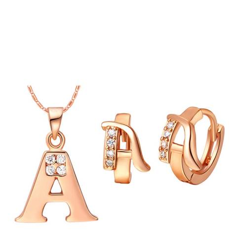 Ma Petite Amie Rose Gold Plated 'A' Initial Jewellery Set with Swarovski Crystals