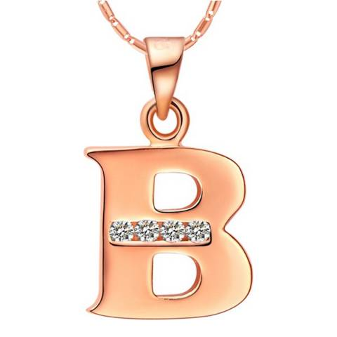 Ma Petite Amie Rose Gold Plated 'B' Initial Necklace with Swarovski Crystals