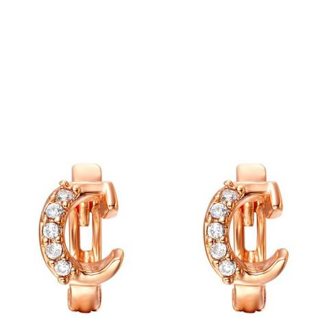 Ma Petite Amie Rose Gold Plated 'C' Initial Earrings with Swarovski Crystals