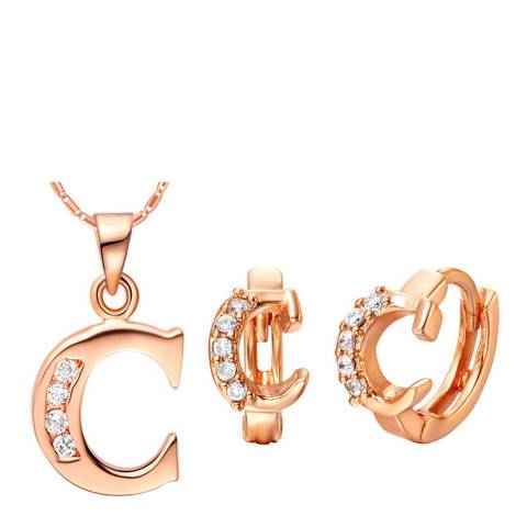 Ma Petite Amie Rose Gold Plated 'C' Initial Jewellery Set with Swarovski Crystals
