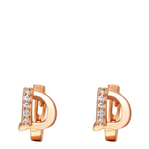 Ma Petite Amie Rose Gold Plated 'D' Initial Earrings with Swarovski Crystals