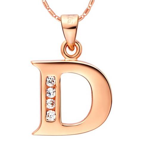 Ma Petite Amie Rose Gold Plated 'D' Initial Necklace with Swarovski Crystals