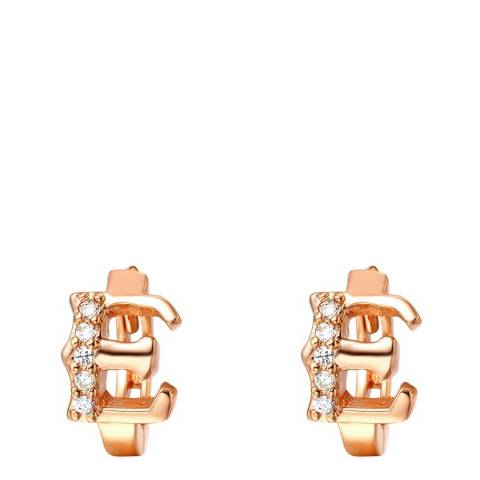 Ma Petite Amie Rose Gold Plated 'E' Initial Earrings with Swarovski Crystals