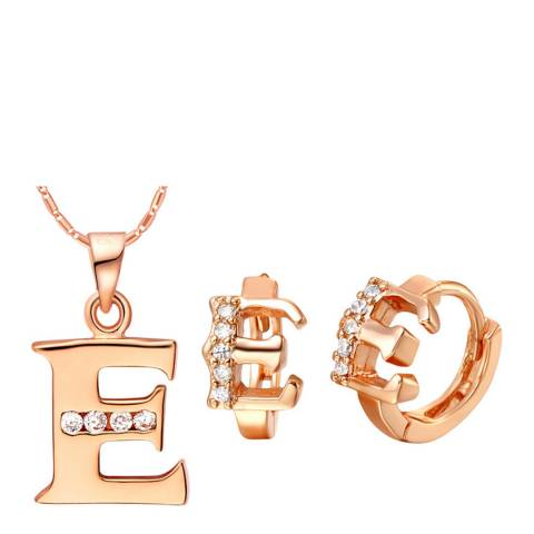 Ma Petite Amie Rose Gold Plated 'E' Initial Jewellery Set with Swarovski Crystals