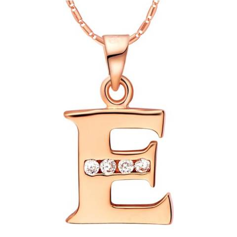 Ma Petite Amie Rose Gold Plated 'E' Initial Necklace with Swarovski Crystals
