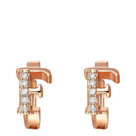 Ma Petite Amie Rose Gold Plated 'F' Initial Earrings with Swarovski Crystals
