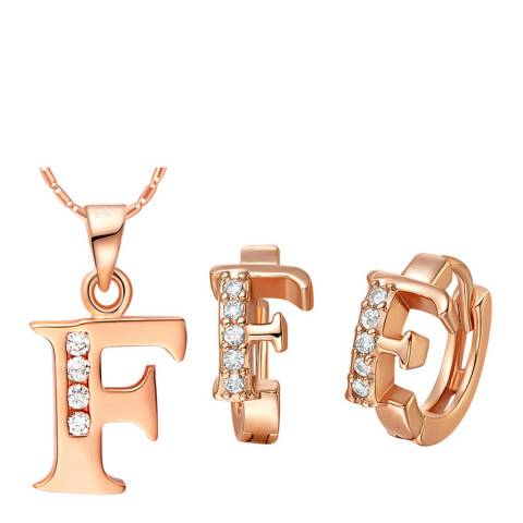Ma Petite Amie Rose Gold Plated 'F' Initial Jewellery Set with Swarovski Crystals