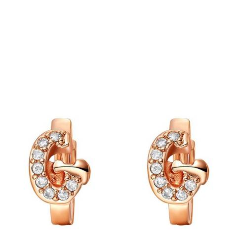 Ma Petite Amie Rose Gold Plated 'G' Initial Earrings with Swarovski Crystals
