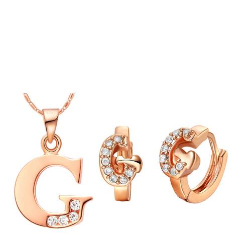 Ma Petite Amie Rose Gold Plated 'G' Initial Jewellery Set with Swarovski Crystals