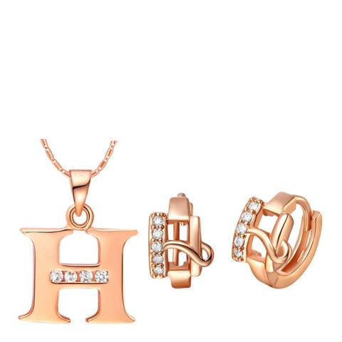 Ma Petite Amie Rose Gold Plated 'H' Initial Jewellery Set with Swarovski Crystals