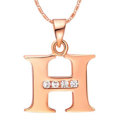 Ma Petite Amie Rose Gold Plated 'H' Initial Necklace with Swarovski Crystals