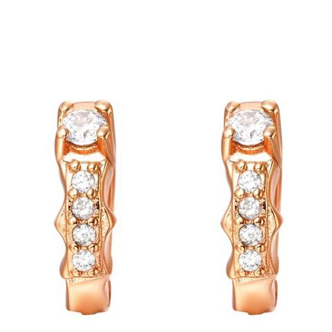 Ma Petite Amie Rose Gold Plated 'I' Initial Earrings with Swarovski Crystals