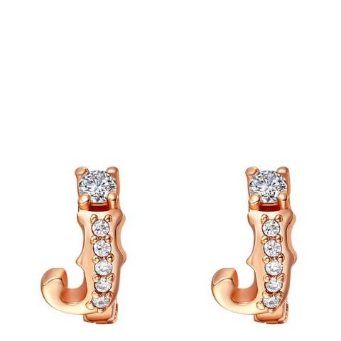 Ma Petite Amie Rose Gold Plated 'J' Initial Earrings with Swarovski Crystals