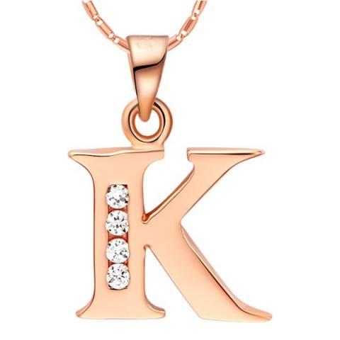 Ma Petite Amie Rose Gold Plated 'K' Initial Necklace with Swarovski Crystals