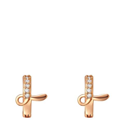 Ma Petite Amie Rose Gold Plated 'L' Initial Earrings with Swarovski Crystals