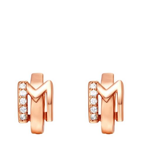 Ma Petite Amie Rose Gold Plated 'M' Initial Earrings with Swarovski Crystals