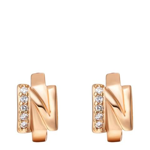 Ma Petite Amie Rose Gold Plated 'N' Initial Earrings with Swarovski Crystals