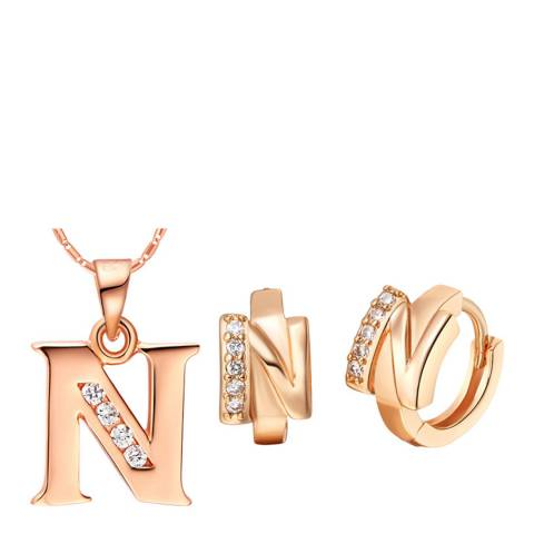 Ma Petite Amie Rose Gold Plated 'N' Initial Jewellery Set with Swarovski Crystals
