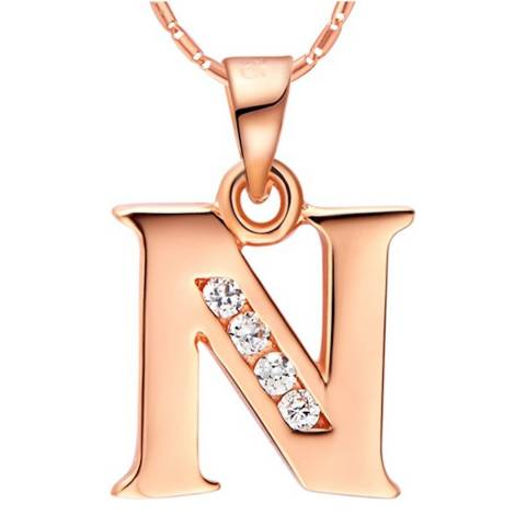 Ma Petite Amie Rose Gold Plated 'N' Initial Necklace with Swarovski Crystals