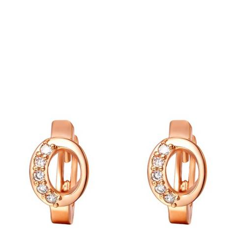 Ma Petite Amie Rose Gold Plated 'O' Initial Earrings with Swarovski Crystals