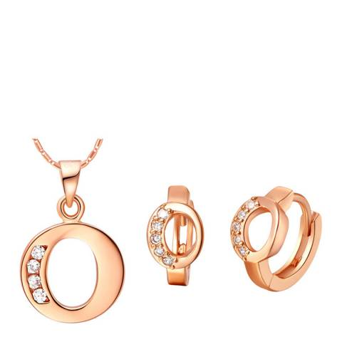 Ma Petite Amie Rose Gold Plated 'O' Initial Jewellery Set with Swarovski Crystals