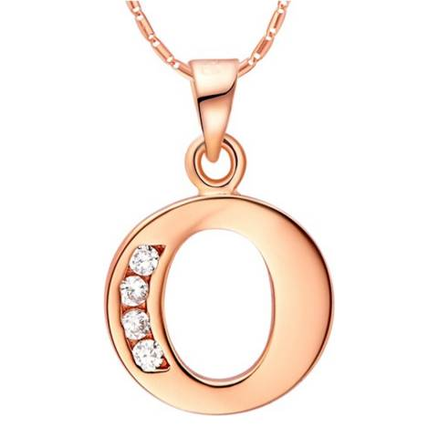 Ma Petite Amie Rose Gold Plated 'O' Initial Necklace with Swarovski Crystals