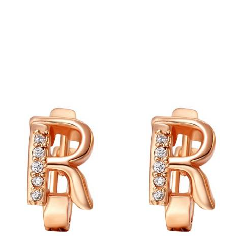 Ma Petite Amie Rose Gold Plated 'R' Initial Earrings with Swarovski Crystals