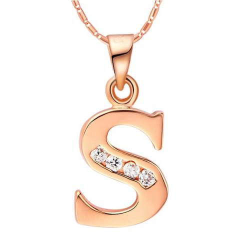 Ma Petite Amie Rose Gold Plated 'S' Initial Necklace with Swarovski Crystals