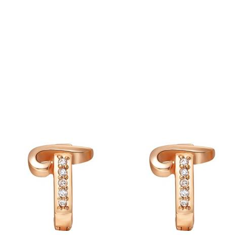 Ma Petite Amie Rose Gold Plated 'T' Initial Earrings with Swarovski Crystals