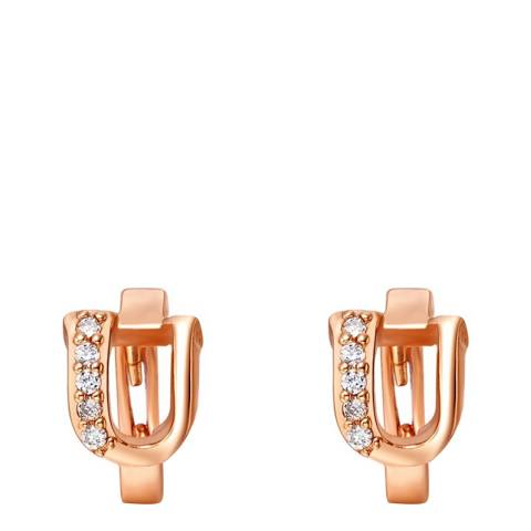 Ma Petite Amie Rose Gold Plated 'U' Initial Earrings with Swarovski Crystals