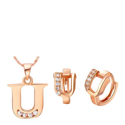 Ma Petite Amie Rose Gold Plated 'U' Initial Jewellery Set with Swarovski Crystals