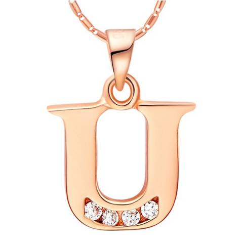Ma Petite Amie Rose Gold Plated 'U' Initial Necklace with Swarovski Crystals
