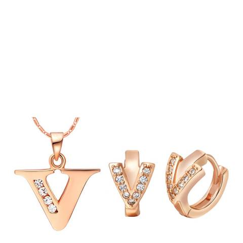 Ma Petite Amie Rose Gold Plated 'V' Initial Jewellery Set with Swarovski Crystals