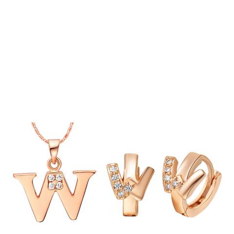 Ma Petite Amie Rose Gold Plated 'W' Initial Jewellery Set with Swarovski Crystals