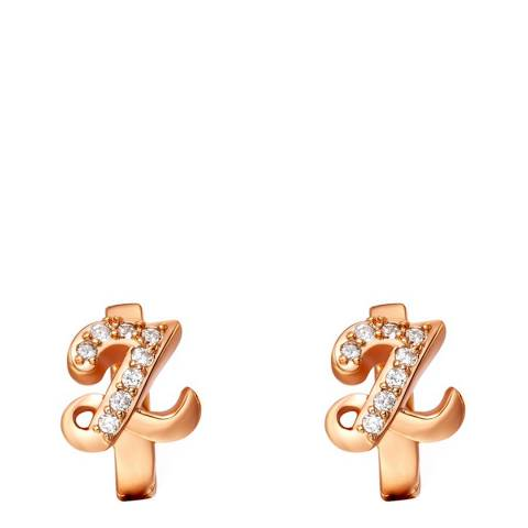 Ma Petite Amie Gold Plated 'Z' Initial Earrings with Swarovski Crystals