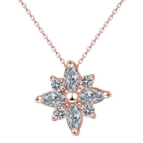 Ma Petite Amie Rose Gold Plated Flower Necklace with Swarovski Elements