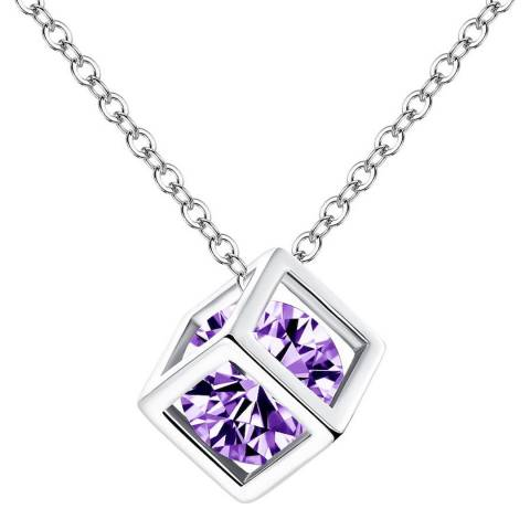 Ma Petite Amie White Gold Plated/Purple Cube Necklace with Swarovski Elements