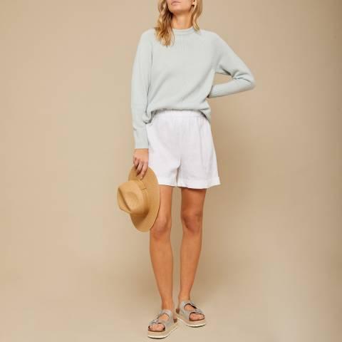 N°· Eleven White Linen Paperbag Short
