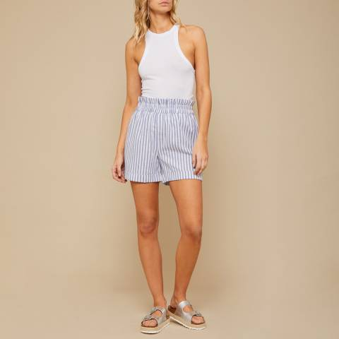N°· Eleven Blue / White Stripe Linen-Cotton Paperbag Short